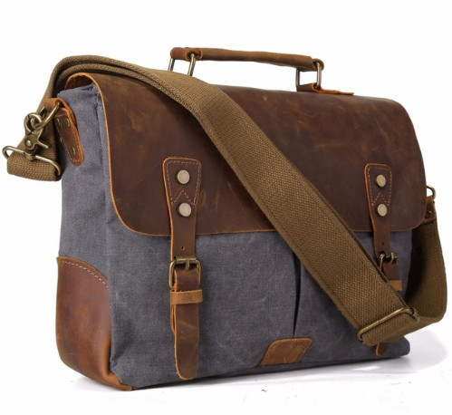 Vintage mens canvas messenger bag horse crazy  leather man soft travel bags school bag retro lock military style hangbags<br>