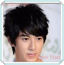 Black Wig Korean Style Synthetic Men's Short Wavy Hair Heat Resistant Cosplay Wig Black/Dark Brown/Light Brown Male Black Wig