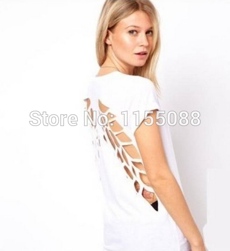 10pcs/lot Fashiont  2019 Hollow out Casual Womens Punk Laser Backless Hollow Angel Wings Cut Out Tops T-shirt
