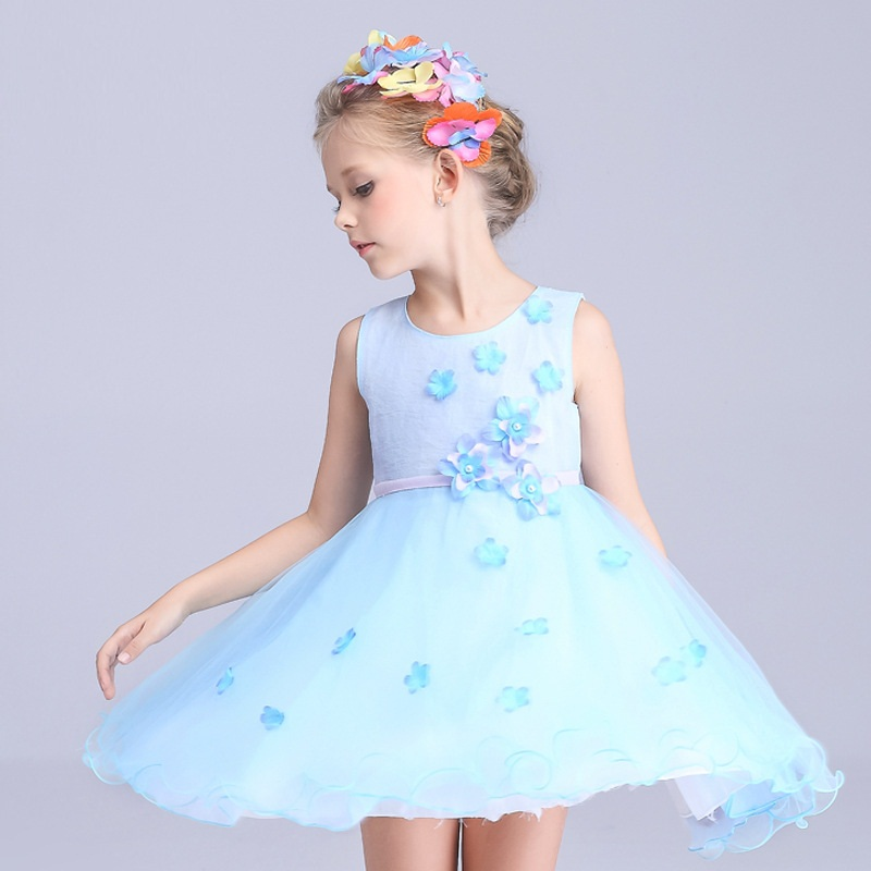 2017 New Design Girls Flowers Princess Dress High Cotton Children Lace Ball Gown Solid Fashion Sleeveless Dress for Kids,RC473<br><br>Aliexpress