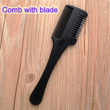 1pc Super Hair Razor Comb Black Handle Hair Razor Cutting Thinning Comb Home DIY Trimmer inside with Blades Hair Brush(China)
