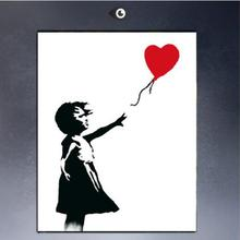 Hand painted Bansky Graffiti Balloon Girl Fine Art Repro Canvas by Hand painted (no Frame)B-207(China)