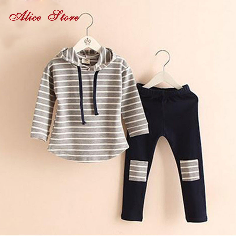 Classic Striped Baby Girl Clothing Set Spring Retail 2Pcs Hooded Sweatshirts+Leggings Pants Girls Clothes Sets Casual Kids Suits(China (Mainland))