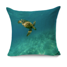 RUBIHOME Creative Decorative Pillow Cushion Cover Throw Polyester Fabric Home Decor Animal Sea Turtle Water Blue Design