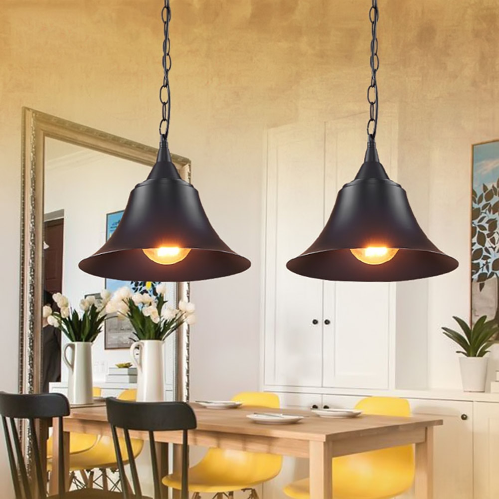 American Industrial Loft Retro Pendant Lamp Black Iron Lampshade Home Indoor Bedroom Kitchen Dining Room Hanging Light Lamparas<br>