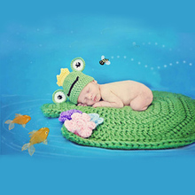 Hand Knitting Soft Handmade Yarn Cotton Infant Lotus Leaf Frog Crochet Clothes Newborn Baby Photography Wild One Hundred Days
