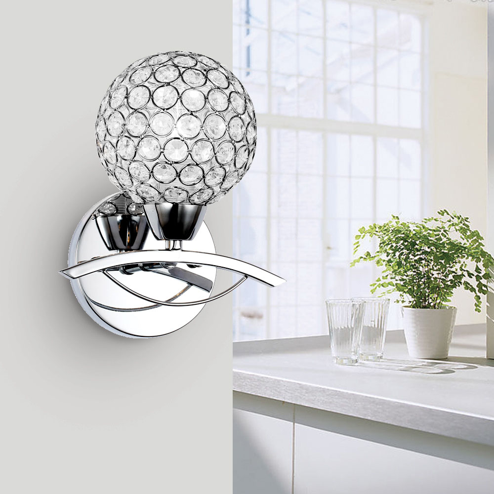 E14 modern wall lamp crystal decoration balls Bedroom living room light fixture send the LED Silver and Gold<br><br>Aliexpress