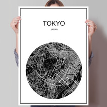 Japan Tokyo Modern World map City poster  Abstract print picture oil painting Canvas Coated paper Cafe Living Room Decor Home
