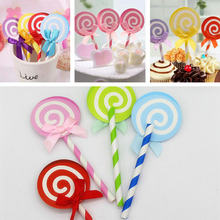 6PCS Cute Lollipop Party cupcake toppers picks decoration for Kids Birthday party Cake favors Decoration supplies