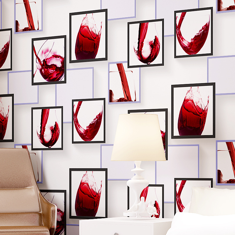 beibehang  Modern simple wine glass pattern 3d three - dimensional non - woven wallpaper bedroom  TV sofa background wallpaper<br>