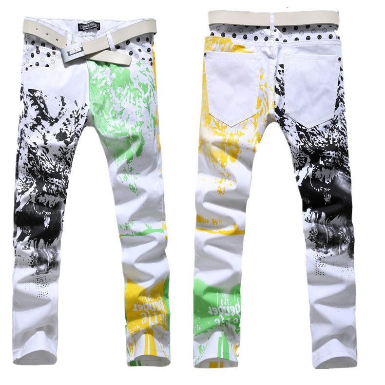 2015 high fashion spring autumn classical mens skinny jeans for men calcas masculino jean mens printed slim fit stretch pantsОдежда и ак�е��уары<br><br><br>Aliexpress