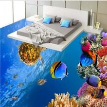 Free Shipping waterproof PVC floor mural Underwater world sea turtles coral fish 3D floor painting wallpaper