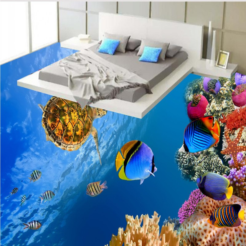 Free Shipping waterproof PVC floor mural Underwater world sea turtles coral fish 3D floor painting wallpaper<br>