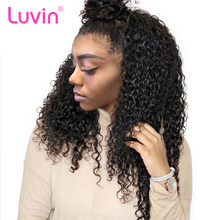 Luvin 360 Lace Frontal Wigs For Black Women Pre Plucked Natural Hairline Malaysian Curly Remy Human Hair Wigs For Black Women(China)