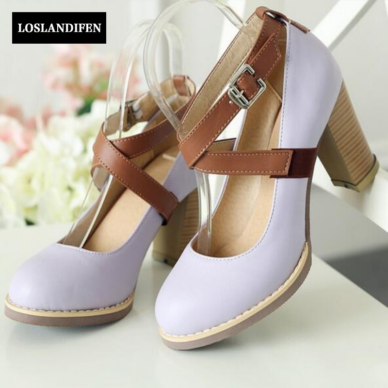 Euro Style Match Color High Thick Heels Round Toe  Shallow Dress Shoes For Womens Buckle Strap Fashion Sweet Girl Party Pumps <br>