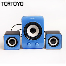1 Set Multi Media Stereo Bass 3D Surround Subwoofer Desktop Portable Notebook Computer PC USB 2.1 Speaker Loudspeaker Voice Box