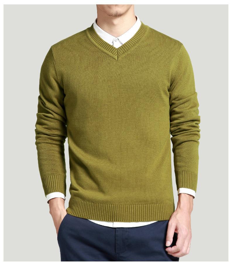 Merino Wool Sweater Pullovers Men V Neck Long Sweater Jumpers Luxury Winter Warm Mercerizing Fleece Male knitwear Autumn Spring-07