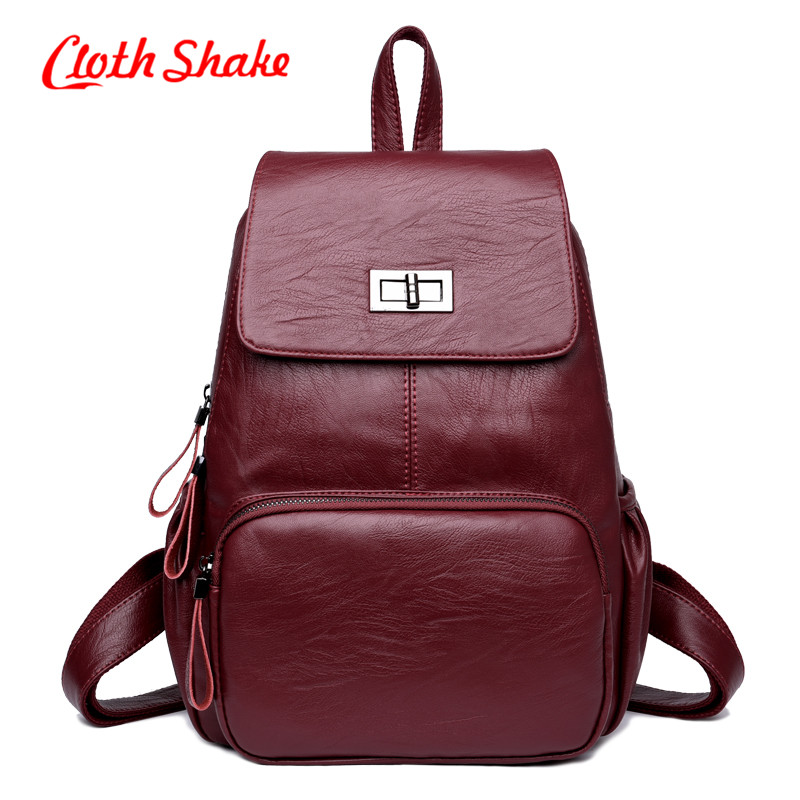 New Design PU Leather Backpack Women Backpacks For Teenage Girls School Bags All Season Fashion Shopping Backpack Mochilas Mujer<br>