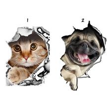 3D Vivid Cats Dogs Wall Sticker Toilet Door Refrigerator Computer Bathroom Decor Wall Decor Animal Wall Decals Art Poster Mural3