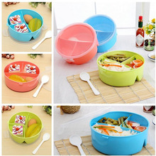 Portable Round Microwave Canteen Bento Picnic Food Container Storage + ladle Randomly Color Kitchen Accessories(China)