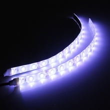 Mising 2pcs Waterproof White Light 25cm Flexible 15 LED 5630 LED Strip Lights 12V DC For Car Boat Caravan Motorcycle
