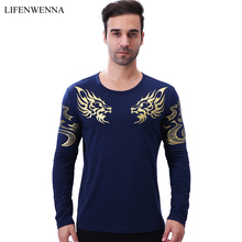 High Quality Men's T Shirt Autumn Fashion Chinese Dragon Print Long Sleeve T Shirts Men New Brand O Neck Slim Fit Top Tees 5XL(China)