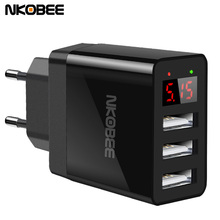 Buy NKOBEE Smart Charger LED Display USB Charger 2.4A Max 3 Port EU Phone USB Wall Charger iPhone iPad Samsung Fast Charger for $8.77 in AliExpress store