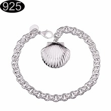 sea shell design photo album wife husband family bracelet 2017 best gifts friend girl silver plated jewelry chain Bracelet h346