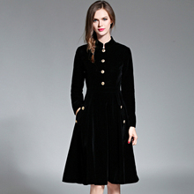 Vintage Style Stand Collar Velvet Slim Dress Autumn Winter Women's Elegant Single Breasted Big Swing Dresses robe hiver(China)
