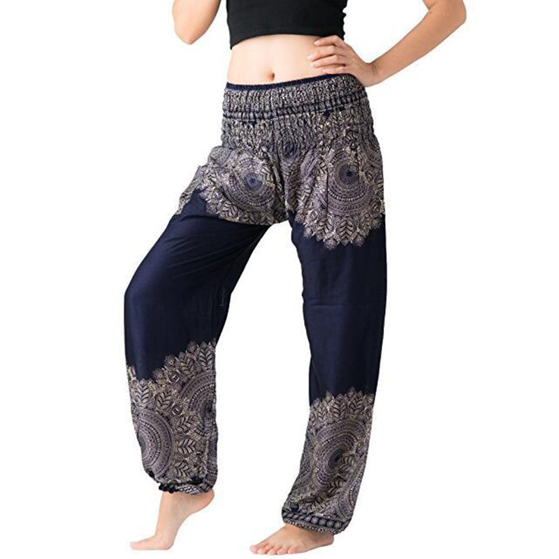 Women Comfy Indie Folk Harem Pants Boho Baggy Hippie Elastic Waist Female Loose Trousers Cotton Holiday Lantern Pants 2018 New