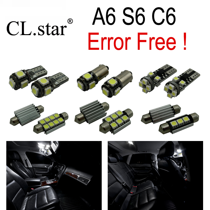 10pc x canbus Error free LED Interior Light Kit Package for Audi A6 S6 RS6 C6  Quattro sedan (2005-2011)<br><br>Aliexpress