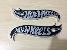 1pair Chrome & BLACK Hot Wheels Flames Emblem Badge Hot Rod, Mustang, Camaro