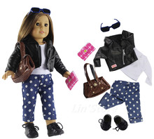 "7 PCS Set Doll Clothes Outfit Leather coat+top+pants+bag+glasses+shoes for 18"" inch American Girl Doll(China)"