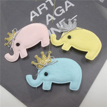 30pcs/lot Cartoon Animal Elephant Hair Clip with Gold Silver Glitter Crown Birthday Party Gift Zoo Animal Barrette Pink Hairpin