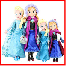 Disney Anime Frozen Dolls Stuffed Princess Elsa Anna Brinquedos 40cm & 50cm Big Size Boneca Plush Toys Children Birthday Gift
