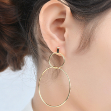 1Pair Hot Sale Golden Silvery European Big Hoops Double Circle Women Girls Charming Hoop Earrings(China)