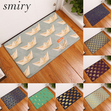 Smiry 40*60cm flannel light thin mats ceative golden pattern hello paper boat mat waterproof durable commercial bedroom carpets