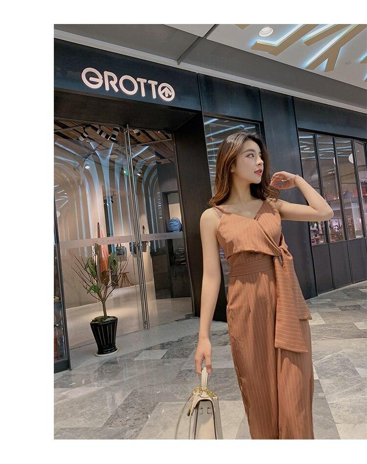 Sling Off Shoulder Sleeveless Striped Jumpsuit 2019 New Fashion V-Neck High Waist Nine Points Wide Leg Jumpsuit Summer 13 Online shopping Bangladesh