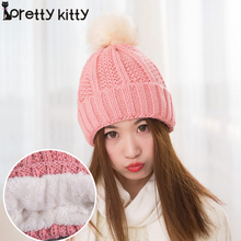 2016 Winter Brand New Colorful Snow Caps Wool Knitted Beanie Women Hat With Raccoon Fur  Hip Hop Skullies Cap