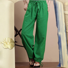2016 Wide Leg Pants For Women Cotton Linen Trousers Elastic Waist Loose Long Pants Casual Pantalones De Mujer Calcas Femininas