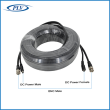PLV 60feet 18.3m CCTV Power Video BNC + DC plug cable for CCTV Camera and DVR system Coaxial Cable Black color Free shipping(China)