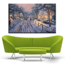 ZZ410 modern decorative canvas prints art thomas kinkade winter snow street still life canvas pictures oil art painting unframed(China)