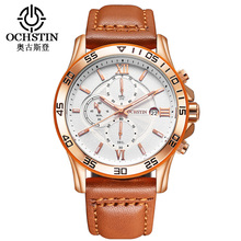 OCHSTIN Fashion Chronograph Watches Men Waterproof Leather Sport Wrist Watch Male Clock Montre Homme Hour Dropship Suppliers(China)
