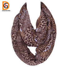 DaGuanJing New Deisgner Colorful Leopard Print Infinity Scarf Ring Voile Lightweight Cheetah Scarves for Women Size:180*50cms(China)