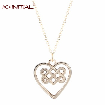 1Pcs New Celtic Heart Necklace Chain Knot Pendant Collar Chokers Statement Necklaces Handmade Irish Knot Fashion Gift Jewelry