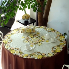 Golden sunflowers High-end luxury embroidery cloth art European The round table cloth 3 sizes The table cloth Dust cloth(China)