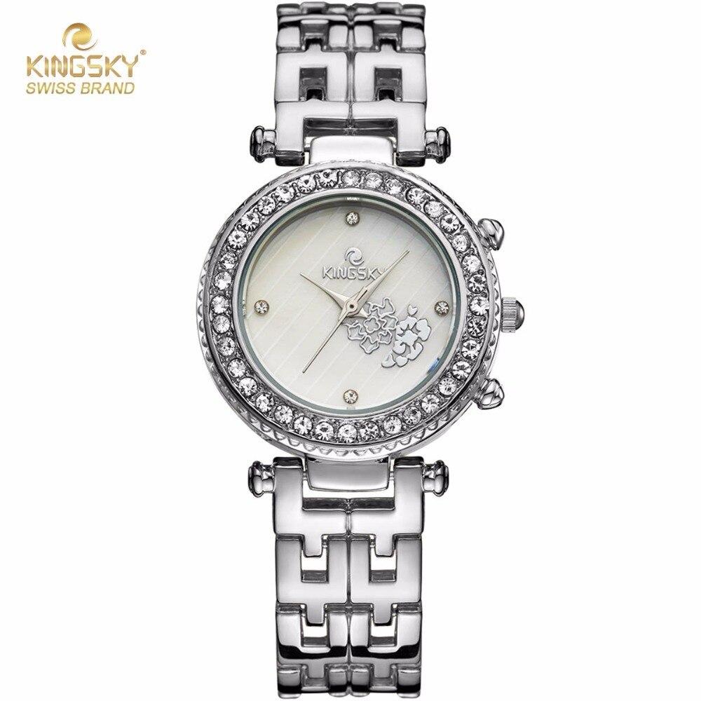 KINGSKY Fashion Women Watches Silver Alloy Band Rhinestone Case Unique Design Dial Japan Quartz Movement Wristwatch 2017 New<br>