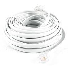 FSLH White RJ11 6P4C Modular Telephone Extenstion Lead Cable 6M 20ft(China)