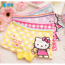 4pcs/lot 2016 Fashion New Cartoon Cat Baby Girls Underwear Cotton Panties Shorts For Kids Short Briefs Children Underpants 2-10Y