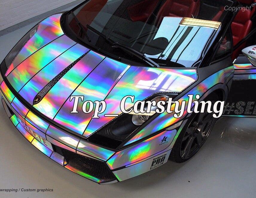 Holographic Laser Chrome Silver Iridescent Vinyl Wrap Car Film Air Bubble Free (1)